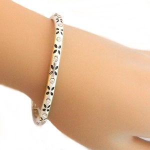 Jewelry - Stretch Bracelet - Leaves & Rhinestone Silver